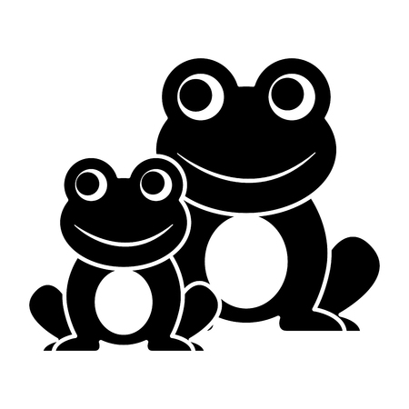 Frogs cute animal sitting cartoon vector illustration. Stock Vector - 93892995