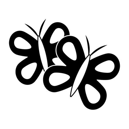 Cute butterflies spring animal outline vector illustration. Illustration