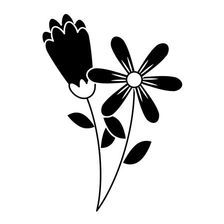 twee bloemen decoratieve lente afbeelding vector illustratie