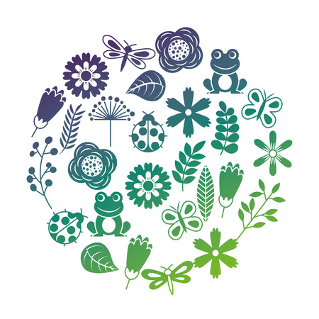 set van lente thema aard bloemen liefde vogels vlinders lieveheersbeestjes kikker dragonfly vector illustratie Stock Illustratie