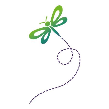 cute flying dragonfly natural animal vector illustration