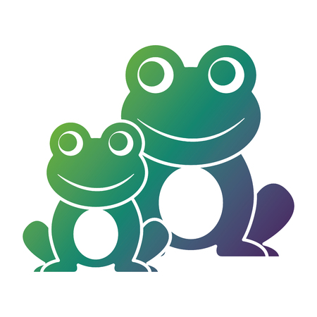 frogs cute animal sitting cartoon vector illustration
