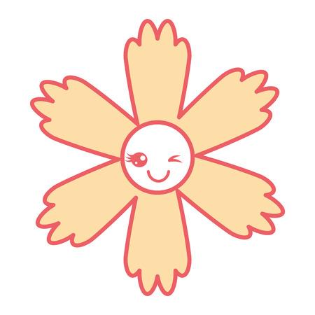 귀여운 만화 행복 꽃 카와이 사랑 스럽다 벡터 일러스트 레이션