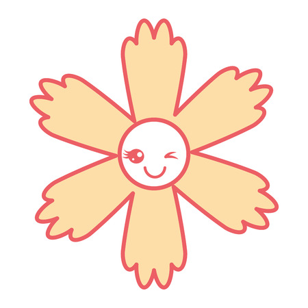 cute cartoon happy flower kawaii adorable vector illustration