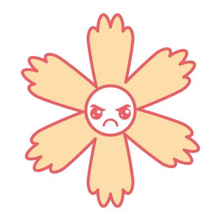 cute cartoon happy flower kawaii adorable vector illustration