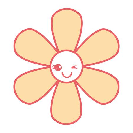 oranje bloem kawaii cartoon botanische pictogram vectorillustratie