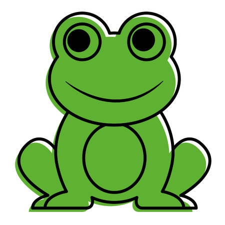 Frog cute animal sitting cartoon vector illustration. Ilustracja
