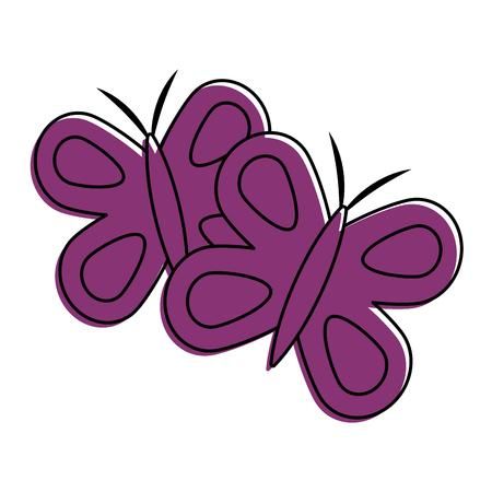 かわいい紫色の蝶春動物ベクトルイラスト