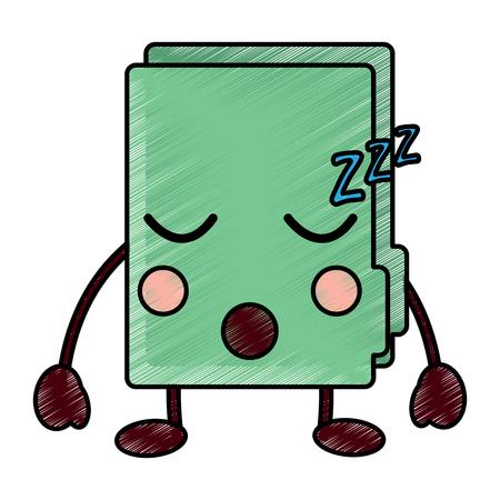 Sleepy file folder icon image vector illustration design Illusztráció