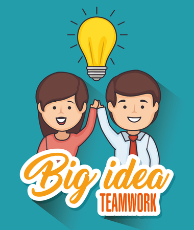 Man and woman holding hands with light bulb and big idea teamwork sign vector illustration
