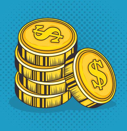 青い背景ベクトルイラストの上に黄金のコイン