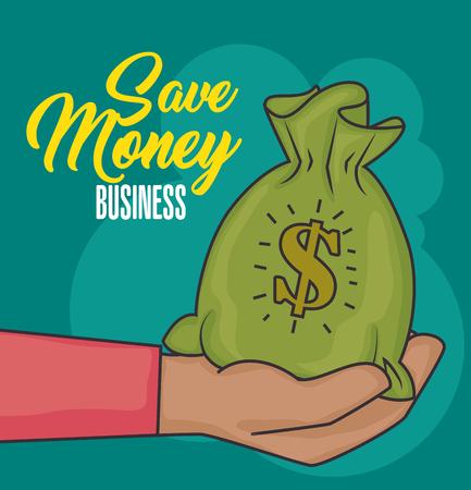 Hand holding money bag and save money sign over green background vector illustration Ilustração