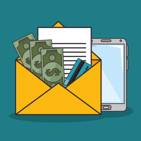 An envelope with a letter a credit card cash and a smartphone over teal background vector illustration