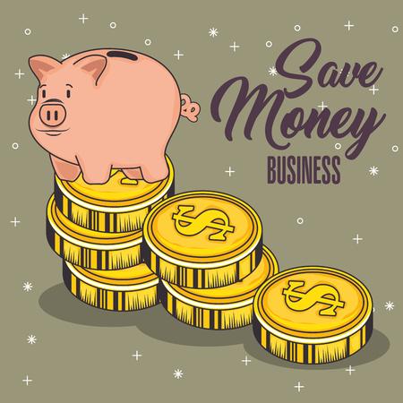 A piggy bank and coins with save mney sign over brown background vector illustraiton Ilustração
