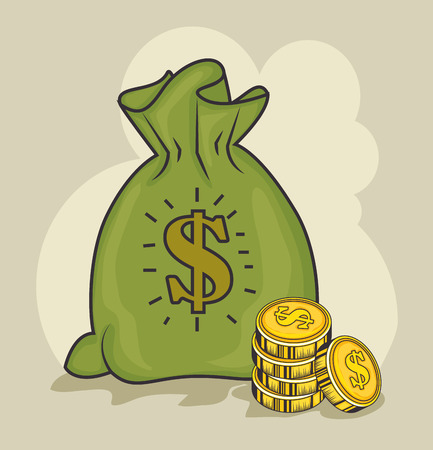 A money bag and coins over light background vector illustration Ilustracja