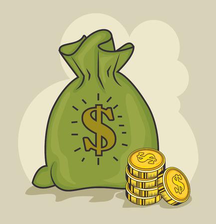 A money bag and coins over light background vector illustration Illustration