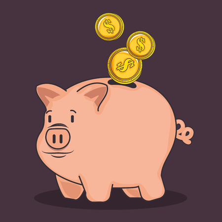A piggy bank and coins over dark purple background vector illustration 向量圖像
