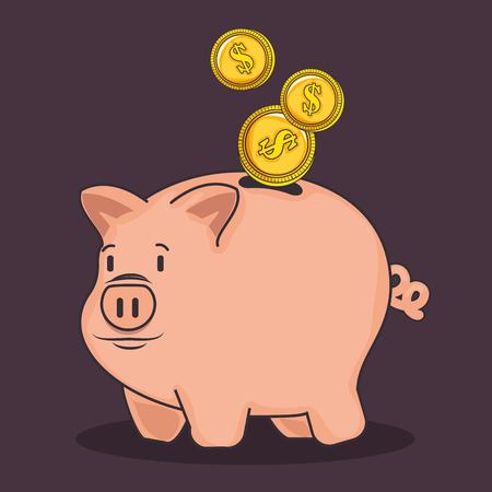 A piggy bank and coins over dark purple background vector illustration Ilustração