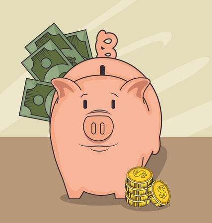 Piggy bank with cash and coins over light background vector illustration