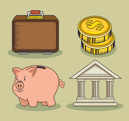 Set of money related objects over green background vector illustration