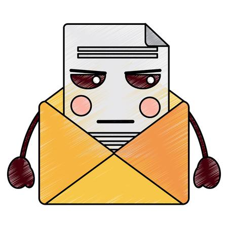 화난 메시지 봉투 가와이 아이콘 이미지 벡터 일러스트 디자인 일러스트