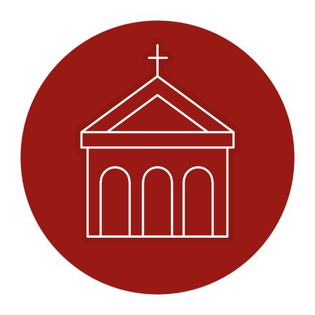 교회 건물 격리 된 아이콘 벡터 일러스트 디자인