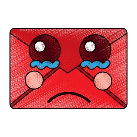 Sad message envelope kawaii icon image vector illustration design Çizim