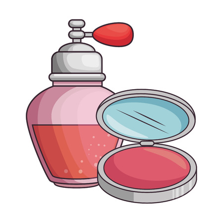 women perfume bottle whit makeup powder vector illustration design