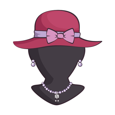 mannequin with elegant female hat and necklace vector illustration  イラスト・ベクター素材