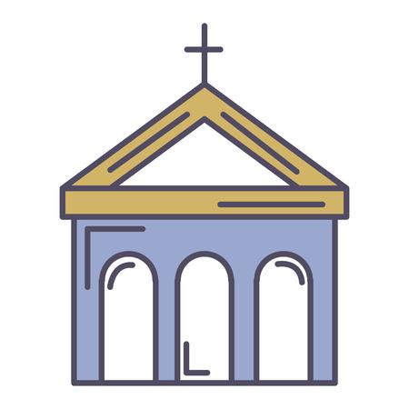 kerkgebouw geïsoleerd pictogram vectorillustratieontwerp Stock Illustratie