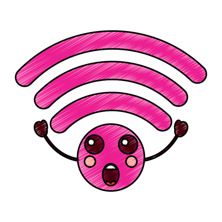 Suprised wifi kawaii icon image vector illustration design