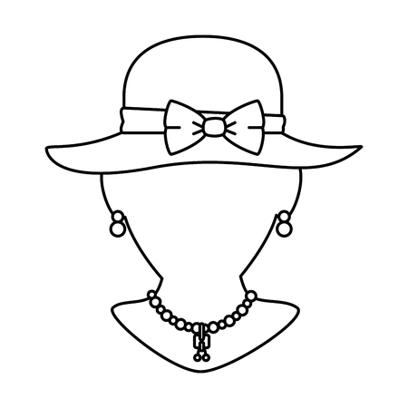 mannequin with elegant female hat and necklace vector illustration Stok Fotoğraf - 93983370