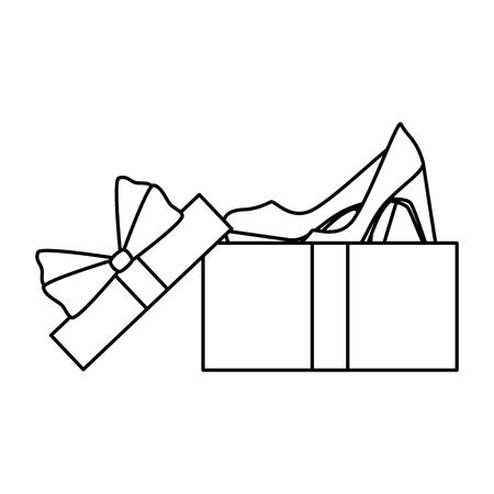 giftbox with elegant heel female icon vector illustration design