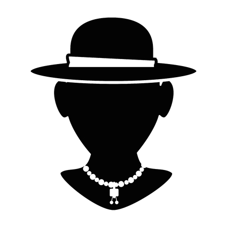 mannequin with elegant female hat and necklace vector illustration Иллюстрация