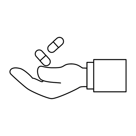 hand with capsules medicine isolated icon vector illustration design Stock Vector - 94113309