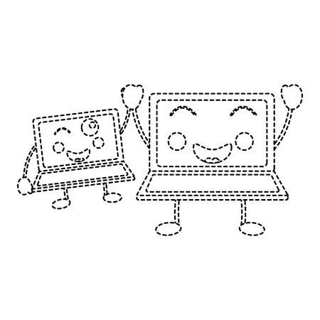 Laptop computer pair cartoon kawaii character vector illustration sketch sticker design