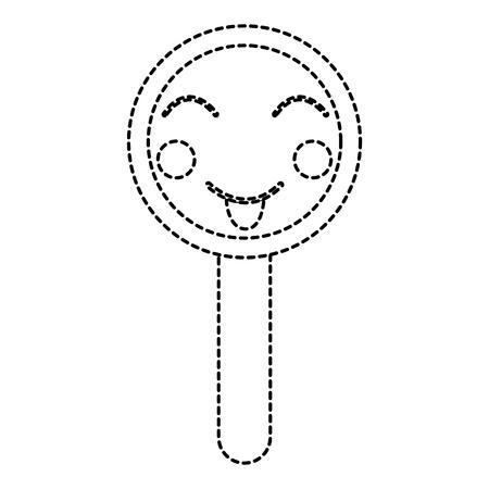 Progettazione dell'autoadesivo dell'illustrazione di vettore della lente d'ingrandimento divertente sveglia di Kawaii