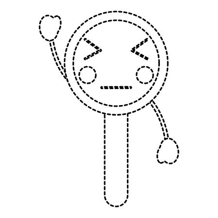 kawaii cute funny magnifying glass vector illustration sticker design