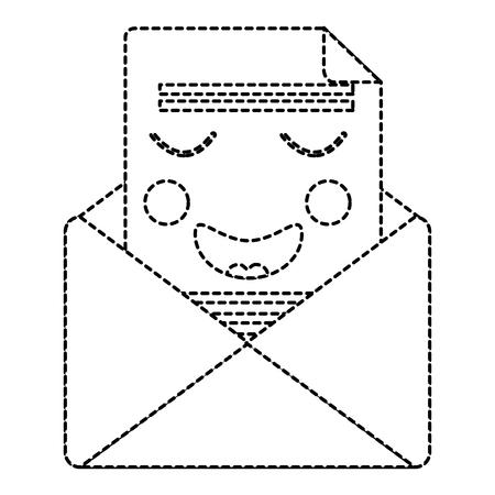 Email envelope letter message cartoon vector illustration sticker design.