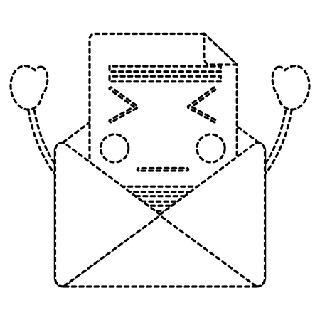 전자 메일 봉투 편지 메시지 만화 벡터 일러스트 스티커 디자인