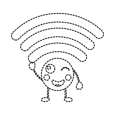 cartoon wifi internet signal character vector illustration sticker design Illustration