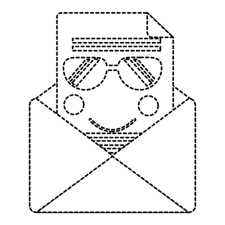 メール封筒レターメッセージ漫画ベクトルイラストステッカーデザイン  イラスト・ベクター素材