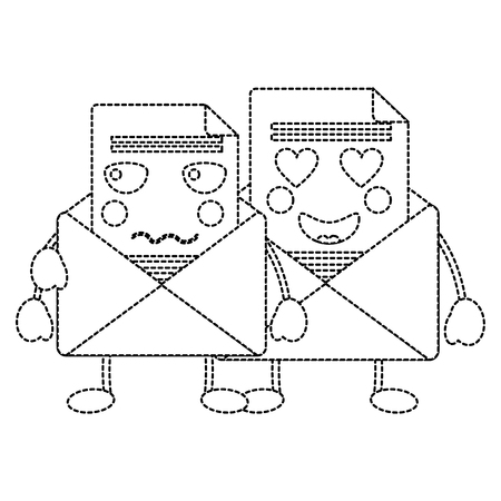 pair email envelope cartoon characters vector illustration sticker design