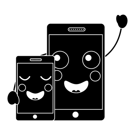 happy smartphone pair hand in hand cartoon  vector illustration pictogram desing Иллюстрация