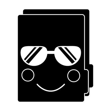 Folder document kawaii cute cartoon vector illustration pictogram design