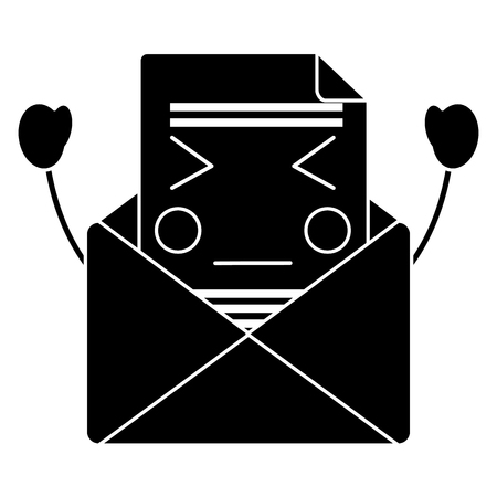 mail envelope character cartoon vector illustration pictogram desing
