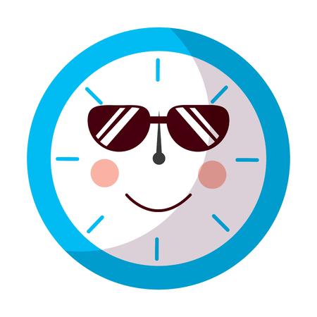 clock wth sunglasses icon image vector illustration design