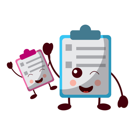 two clipboard business document cartoon vector illustration