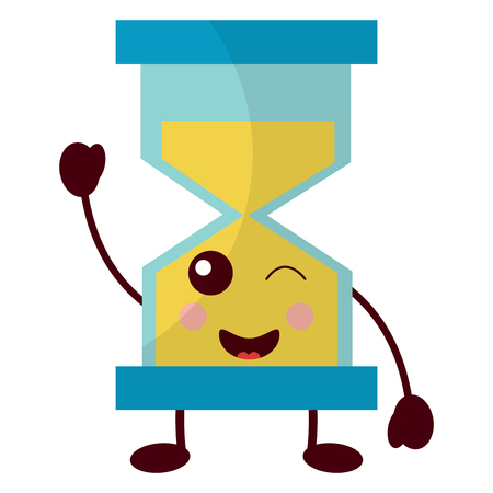 hourglass time wink character vector illustration