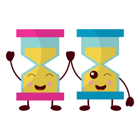 Kawaii pair hour glass business cartoon vector illustration